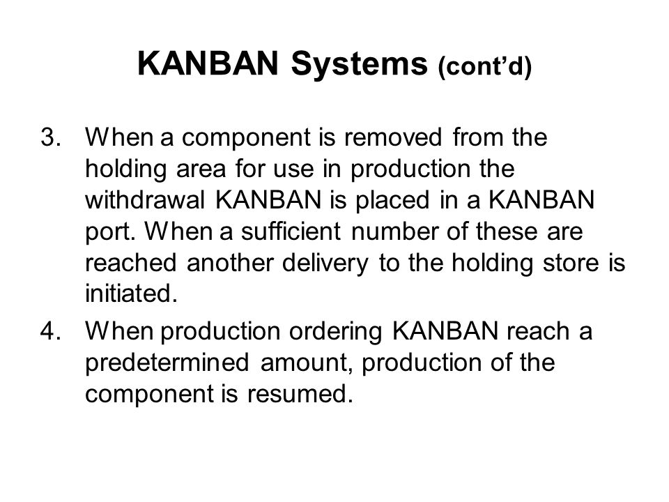 KANBAN Systems (cont'd)