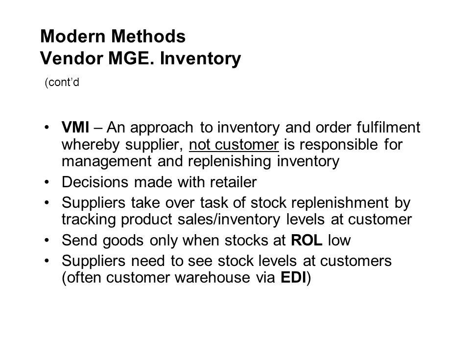 Modern Methods Vendor MGE. Inventory (cont'd