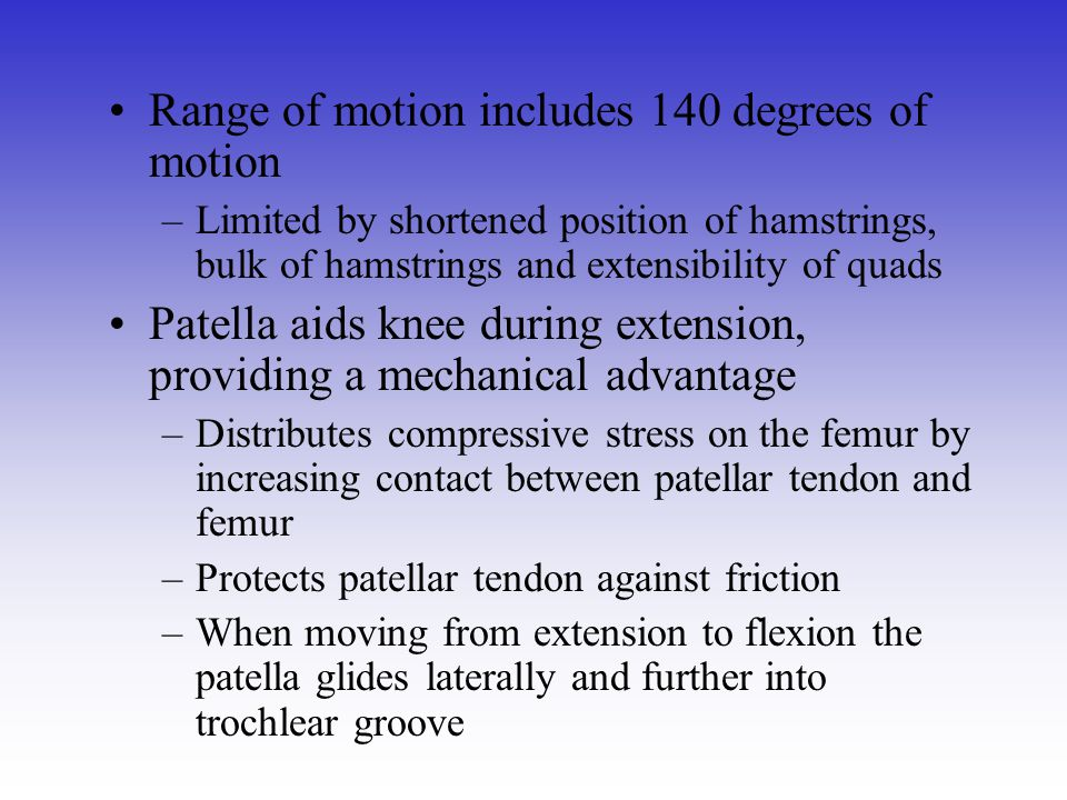 Range of motion includes 140 degrees of motion