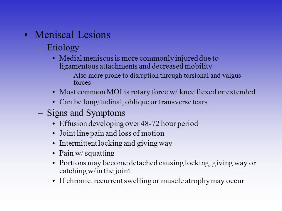 Meniscal Lesions Etiology Signs and Symptoms