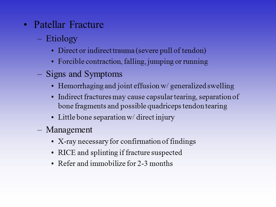 Patellar Fracture Etiology Signs and Symptoms Management