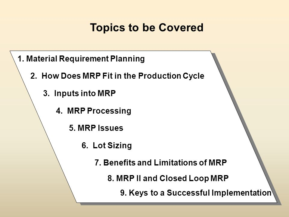 Topics to be Covered 1. Material Requirement Planning