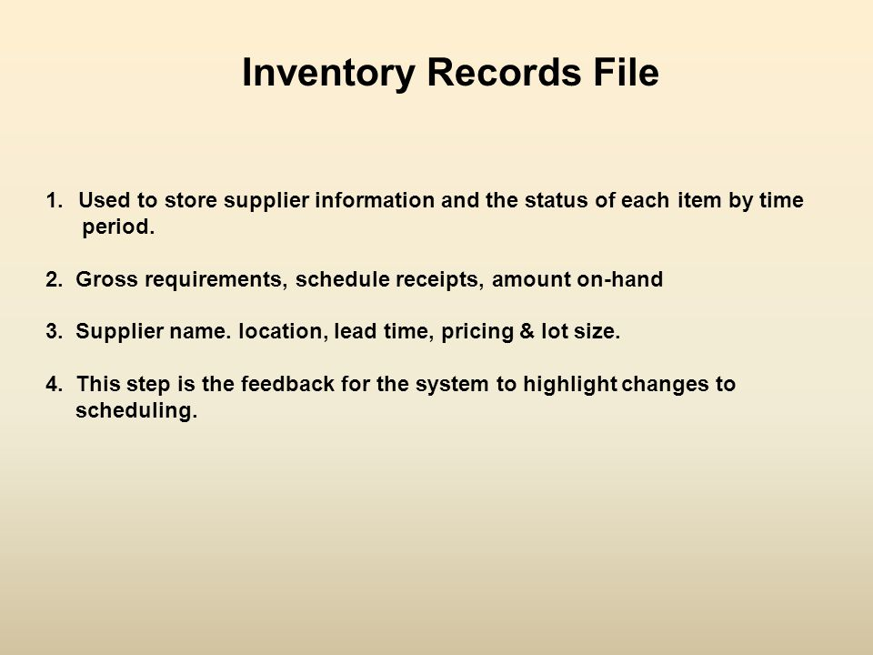 Inventory Records File