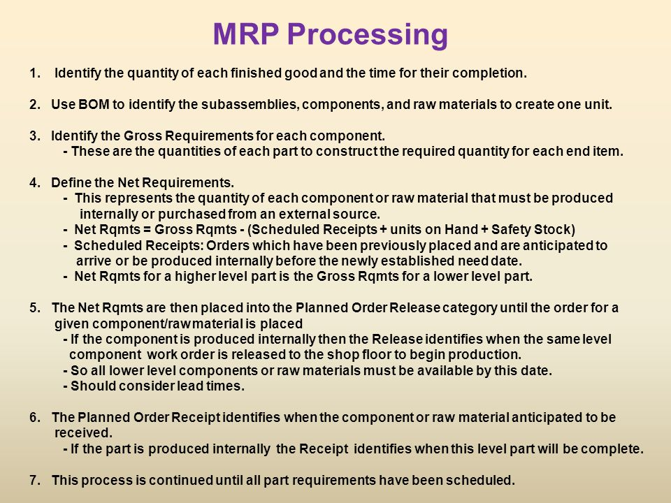 MRP Processing Identify the quantity of each finished good and the time for their completion.