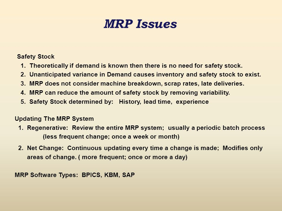 MRP Issues Safety Stock