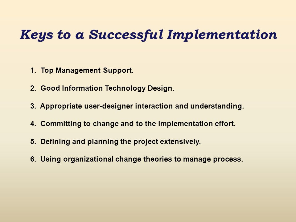 Keys to a Successful Implementation