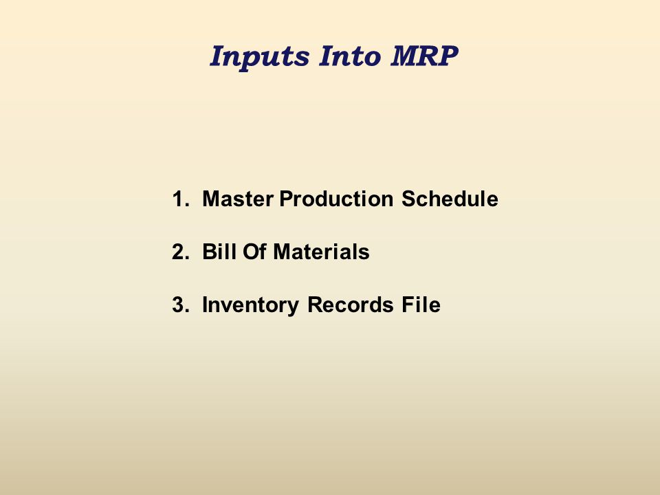 Inputs Into MRP 1. Master Production Schedule 2. Bill Of Materials