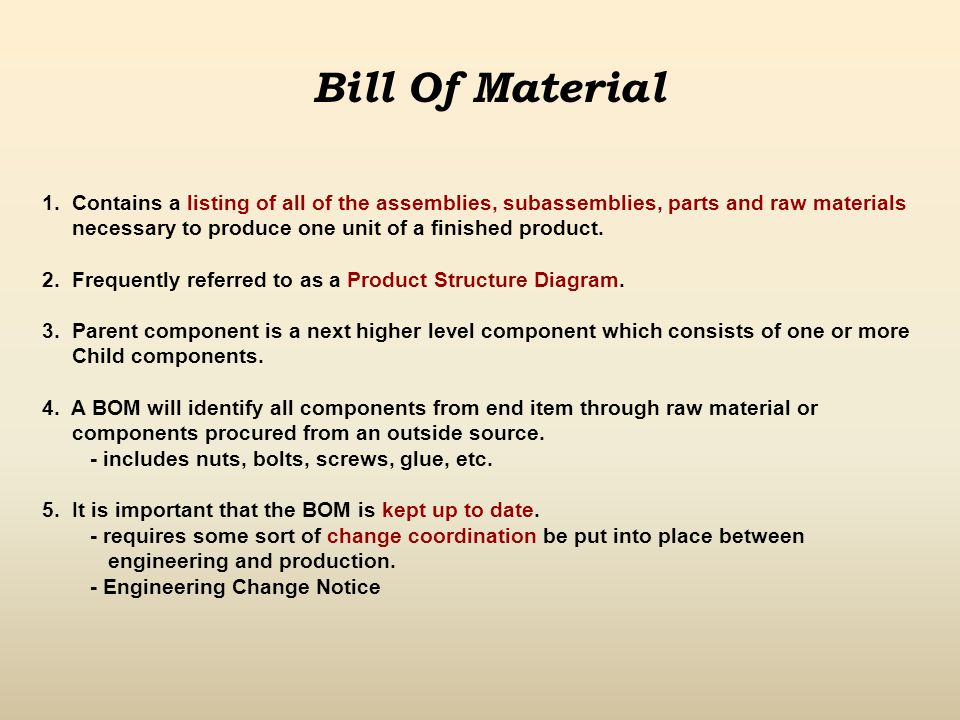 Bill Of Material 1. Contains a listing of all of the assemblies, subassemblies, parts and raw materials.
