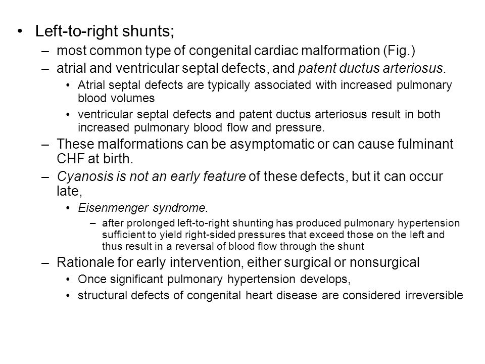 Left-to-right shunts;