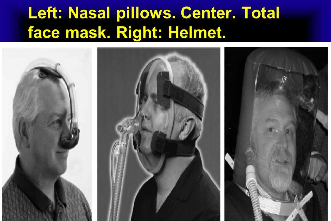 Left: Nasal pillows. Center. Total face mask. Right: Helmet.
