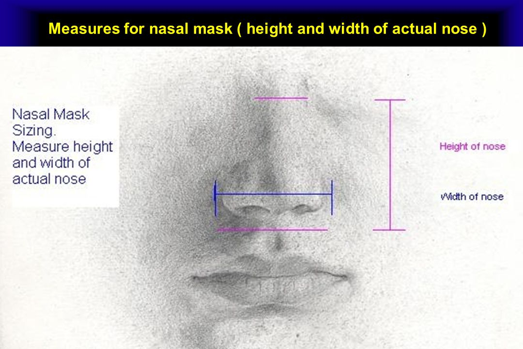 Measures for nasal mask ( height and width of actual nose )