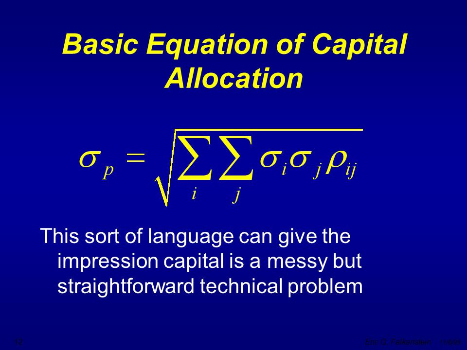 Basic Equation of Capital Allocation