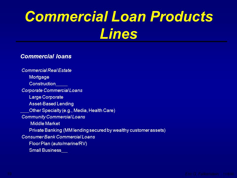 Commercial Loan Products Lines
