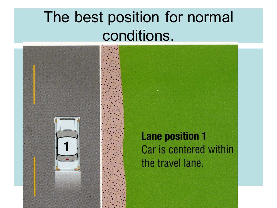 The best position for normal conditions.
