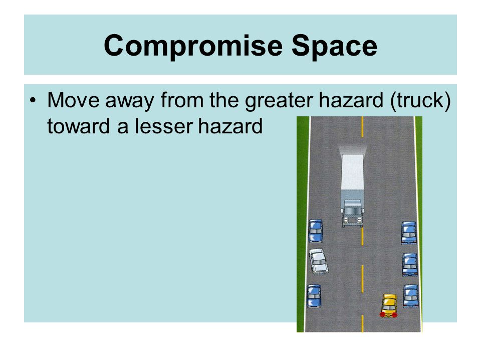 Compromise Space Move away from the greater hazard (truck) toward a lesser hazard