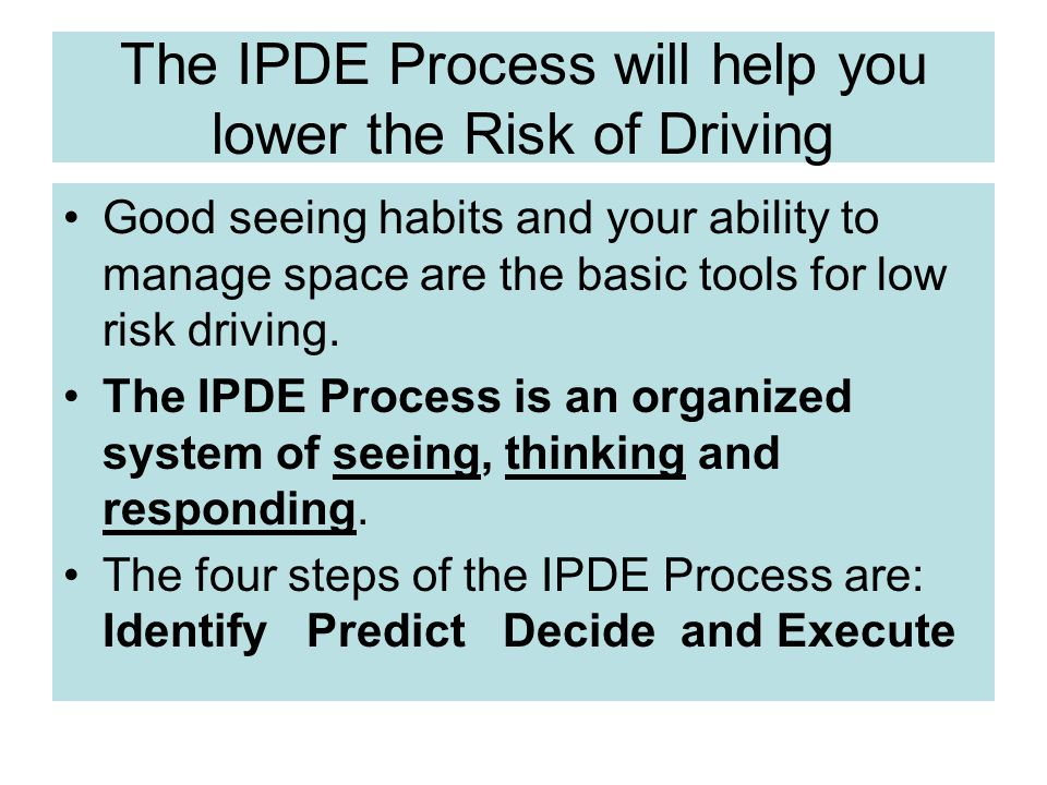 The IPDE Process will help you lower the Risk of Driving