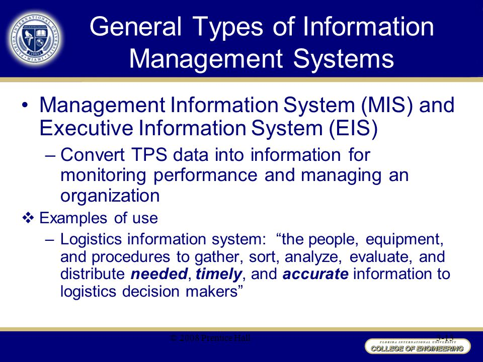 General Types of Information Management Systems