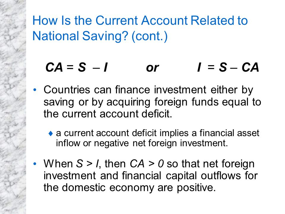 How Is the Current Account Related to National Saving (cont.)