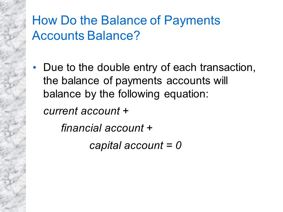 How Do the Balance of Payments Accounts Balance