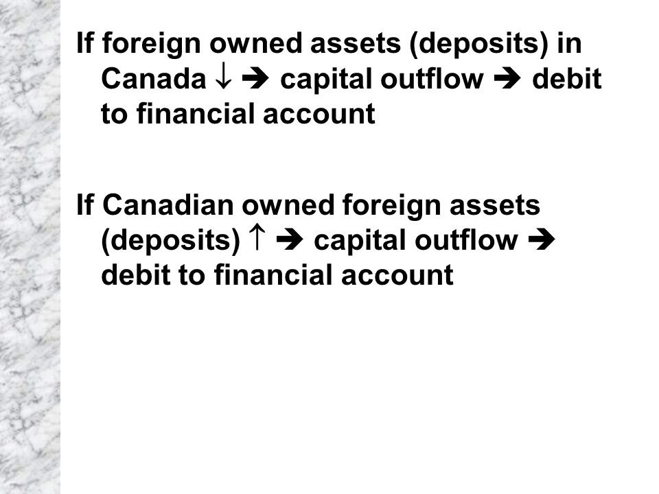 If foreign owned assets (deposits) in Canada   capital outflow  debit to financial account