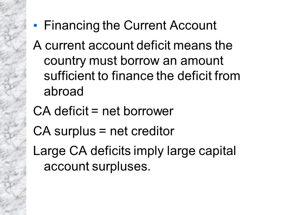 Financing the Current Account