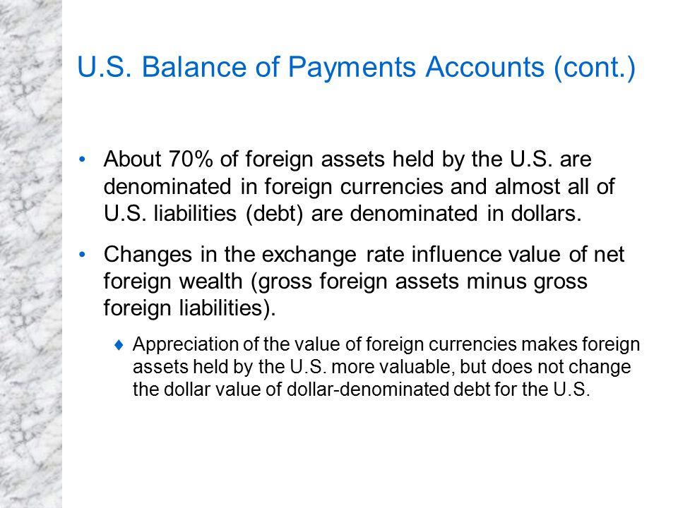 U.S. Balance of Payments Accounts (cont.)