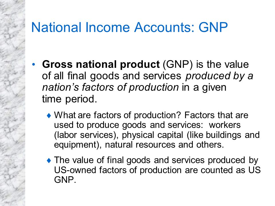 National Income Accounts: GNP