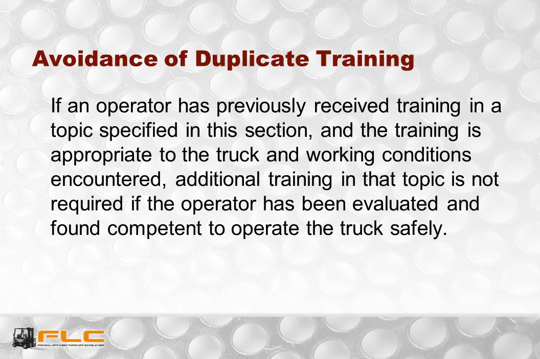 Avoidance of Duplicate Training