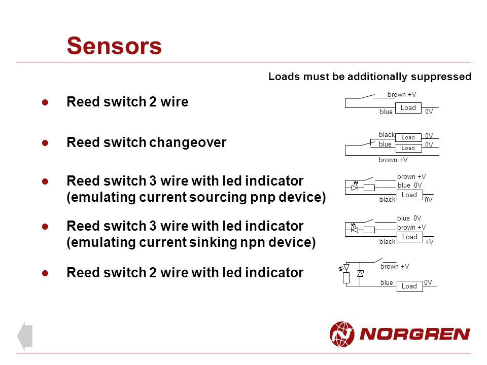 Sensors Reed switch 2 wire Reed switch changeover