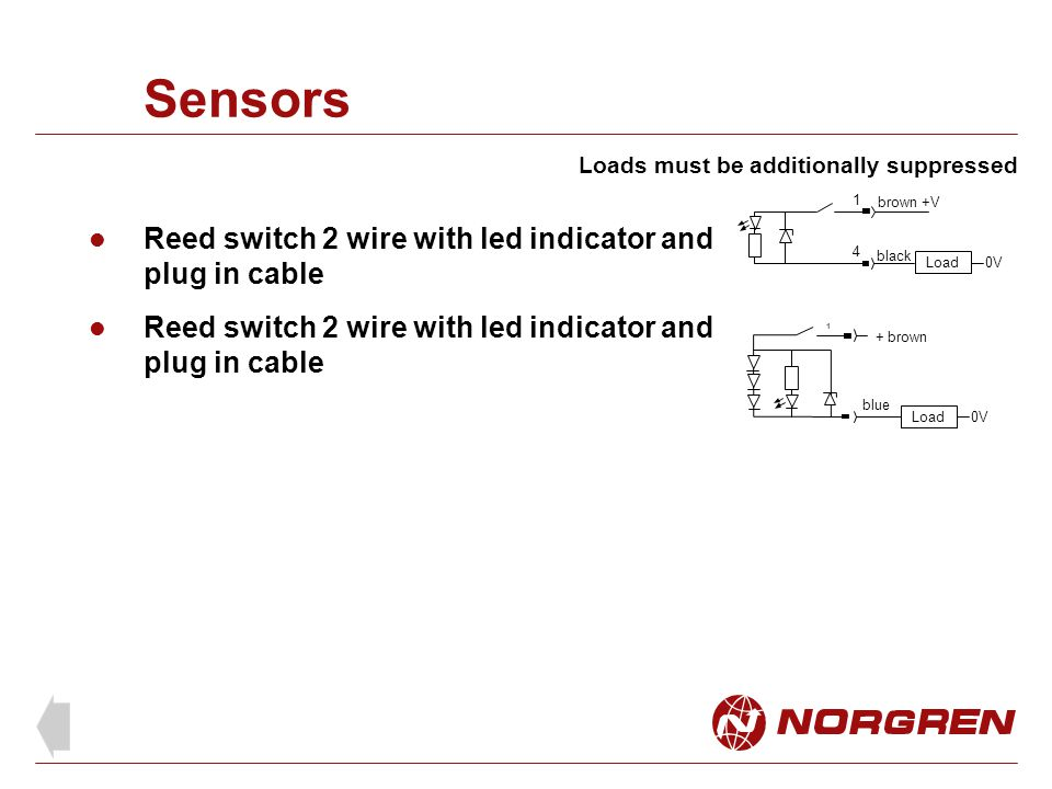 Sensors Reed switch 2 wire with led indicator and plug in cable