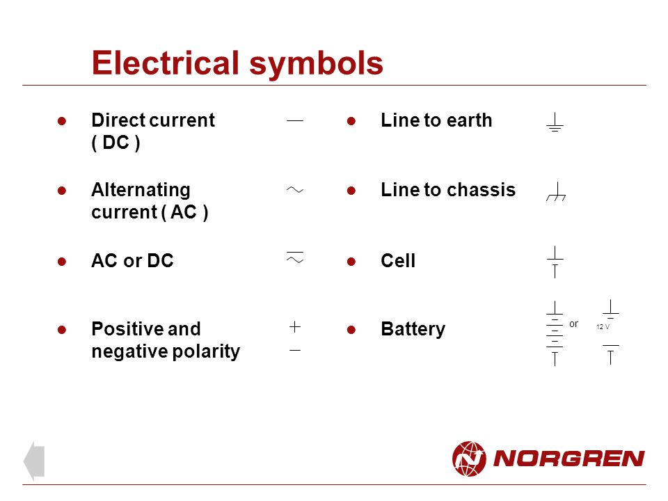 Electrical symbols Direct current ( DC ) Line to earth