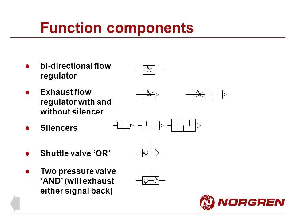 Function components bi-directional flow regulator