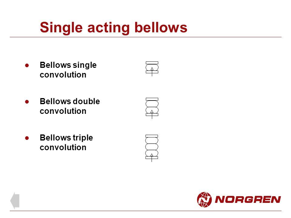Single acting bellows Bellows single convolution