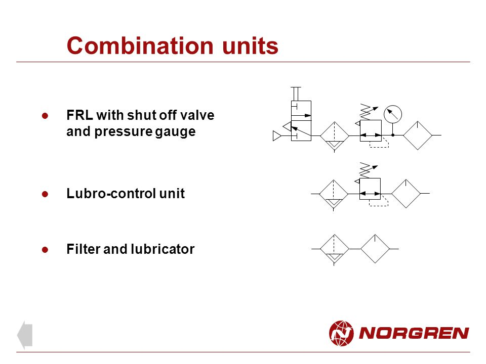 Combination units FRL with shut off valve and pressure gauge