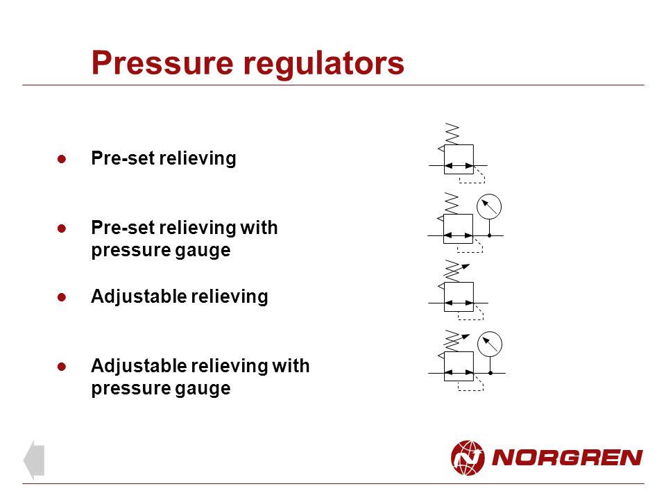 Pressure regulators Pre-set relieving