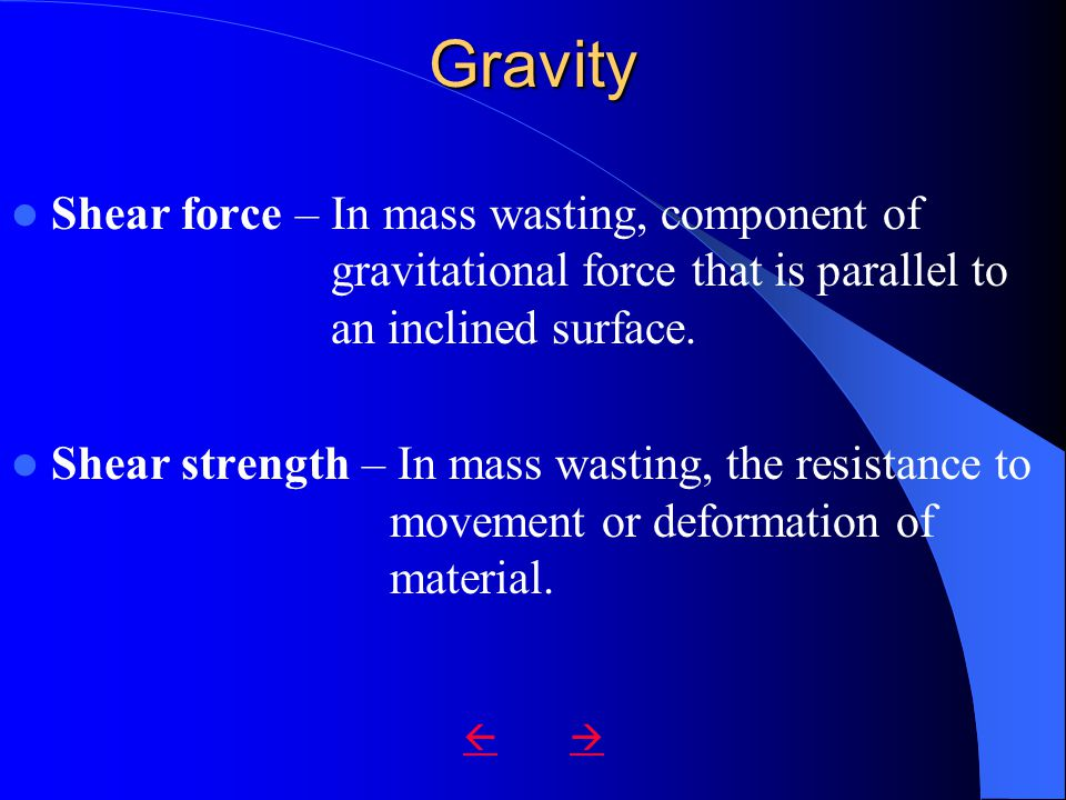 Gravity Shear force – In mass wasting, component of gravitational force that is parallel to an inclined surface.