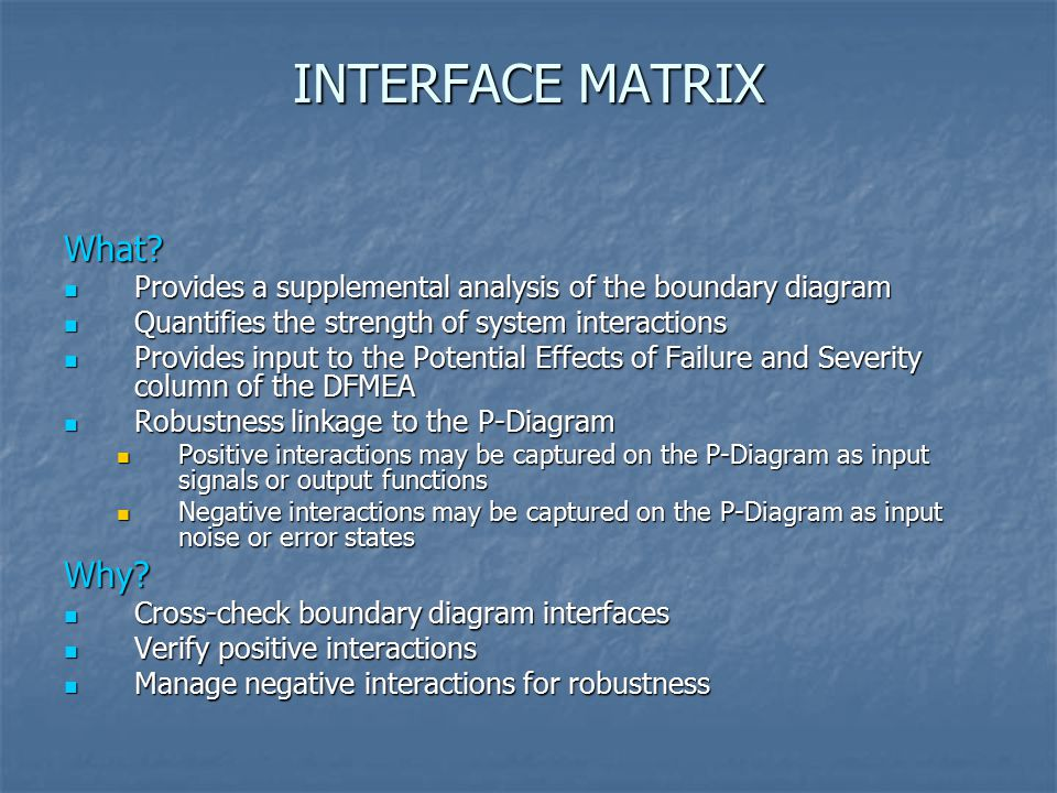 INTERFACE MATRIX What Why