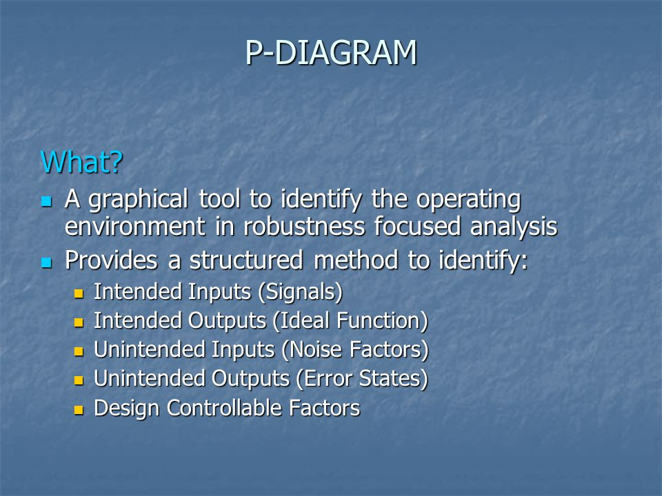 P-DIAGRAM What A graphical tool to identify the operating environment in robustness focused analysis.