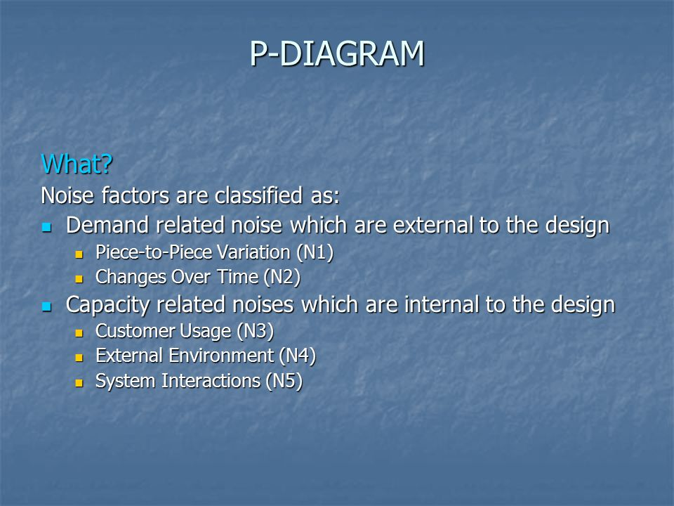 P-DIAGRAM What Noise factors are classified as: