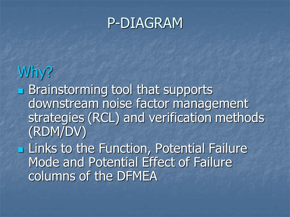 P-DIAGRAM Why Brainstorming tool that supports downstream noise factor management strategies (RCL) and verification methods (RDM/DV)