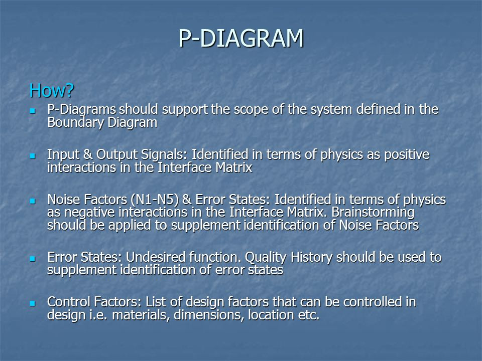 P-DIAGRAM How P-Diagrams should support the scope of the system defined in the Boundary Diagram.