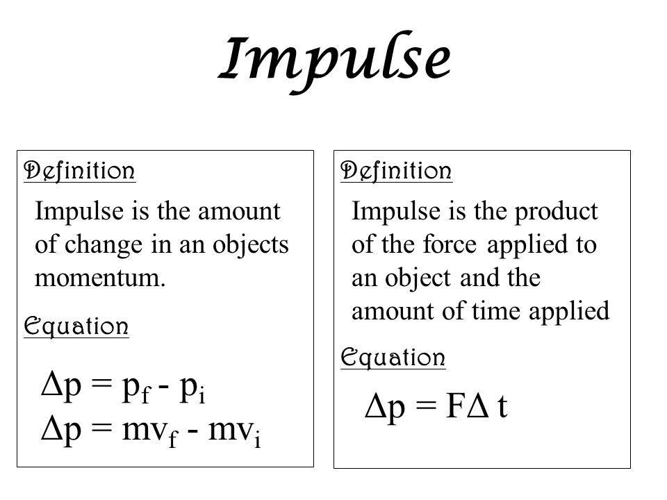 Impulse Δp = pf - pi Δp = mvf - mvi Δp = FΔ t