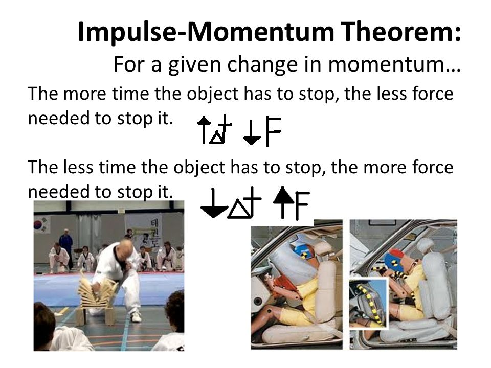 Impulse-Momentum Theorem: For a given change in momentum…