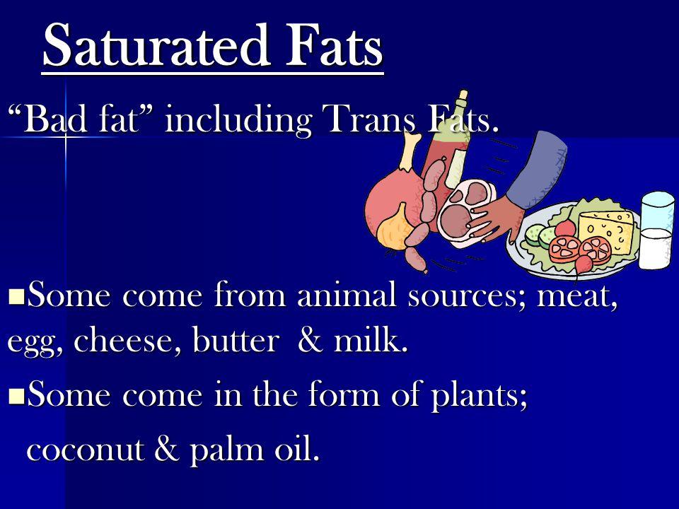 Saturated Fats Bad fat including Trans Fats.