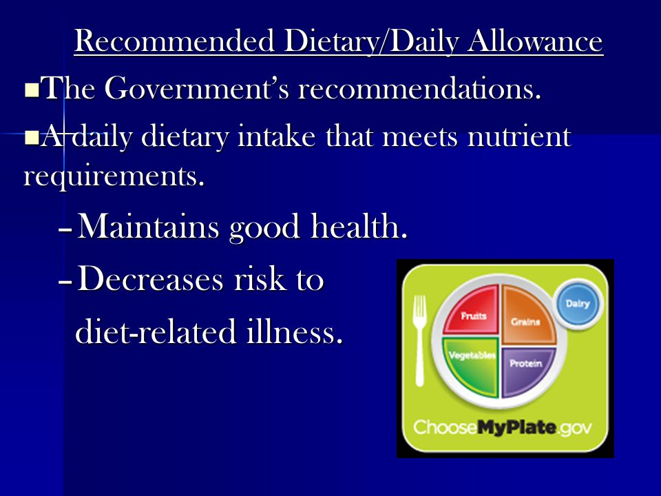 Recommended Dietary/Daily Allowance