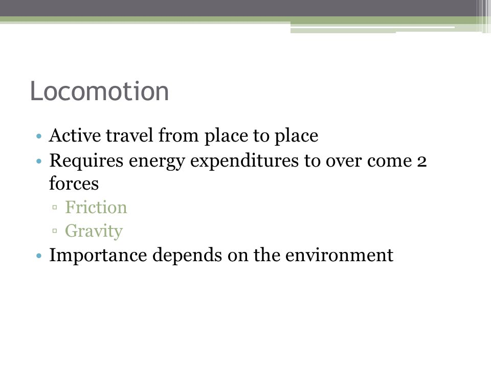 Locomotion Active travel from place to place