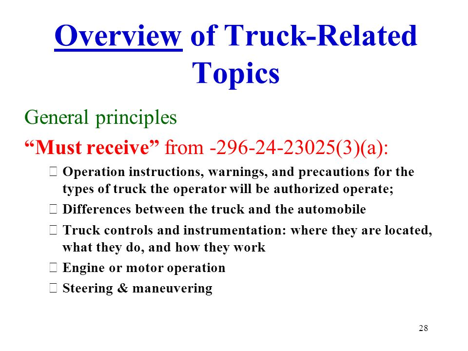 Overview of Truck-Related Topics