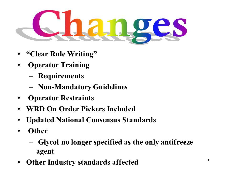 Changes Clear Rule Writing Operator Training Requirements