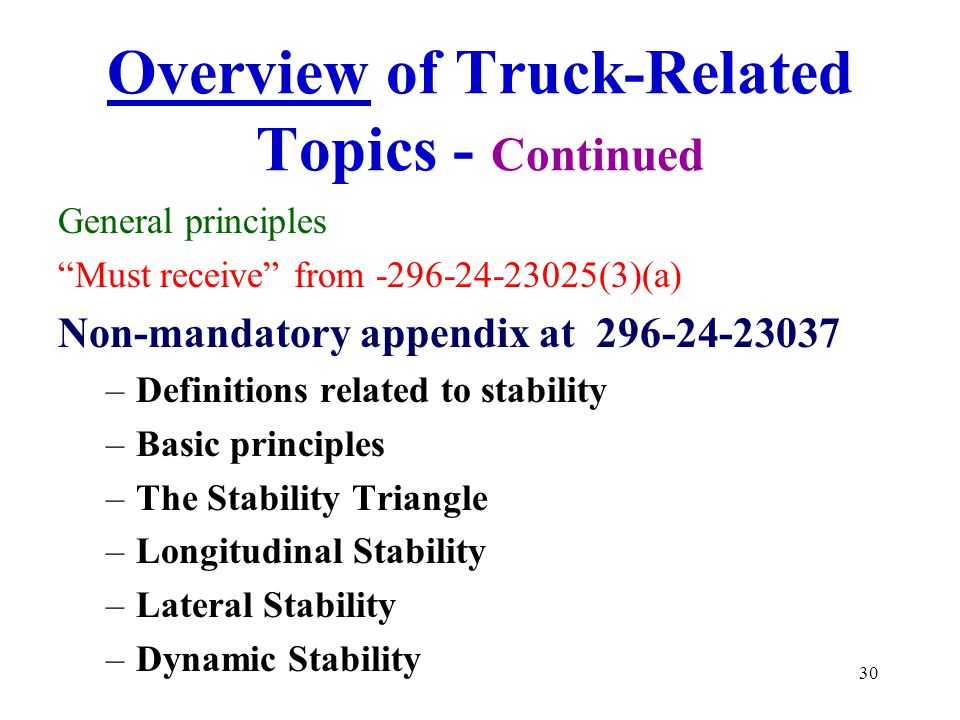 Overview of Truck-Related Topics - Continued