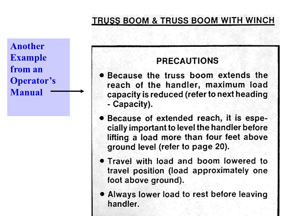 Another Example from an Operator's Manual